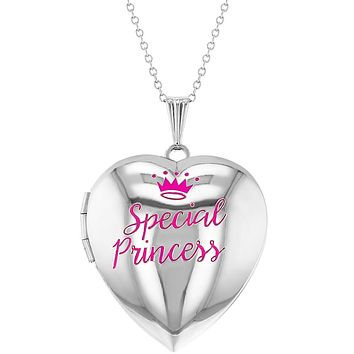 """Special Princess Pink Crown Photo Heart Locket Necklace Girls Pendant 16"""""""