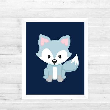 Arctic Fox Arctic Animal on Navy Blue Solid Background Decor Baby Print CUSTOMIZE YOUR COLORS 8x10 Prints Nursery Decor Baby Room Decor Kids