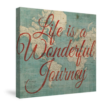 World Map Inspiration - Life is a Wonderful Journey Canvas Wall Art