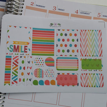 Smile Inspire Planner Stickers , Dots ~ Hearts ~ Chevron , Erin Condren Planner Stickers , Functional Stickers , ECLP , Filofax, Kikki K,