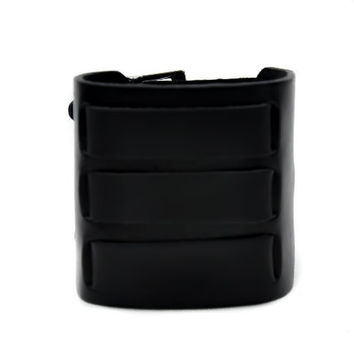 "3"" Black Leather Strip Cuff Wristband Metal"