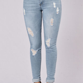 Feel My Wrath Jeans - Light Blue