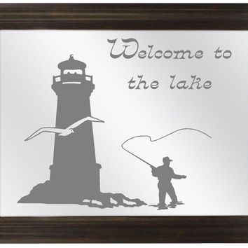 Lighthouse Fishing Custom Personalized Etched Framed Bar Mirror Glass Pub Signs Man Cave Decor