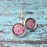 Silver Monogrammed Earrings, Leverback, Bridesmaid, Christmas, Monogrammed gifts for girls, teens, women