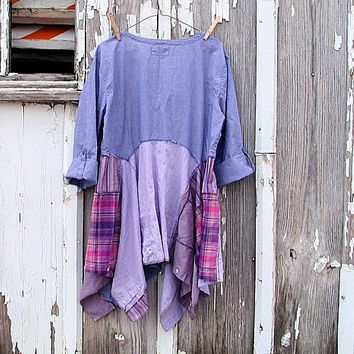 upcycled lagenlook tunic lavender lilac radiant orchid artsy bohemian peasant refashioned eco clothing large x-large