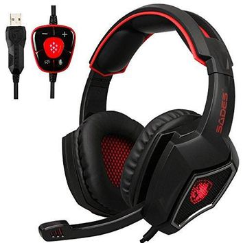 2017 New Updated SADES Spirit Wolf 7.1 Surround Stereo Sound USB Computer Gaming Headset with Microphone,Over-the-Ear Noise Isolating,Breathing LED Light For PC Gamers (Black Red)