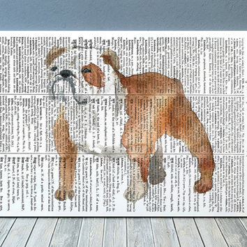 Bulldog decor Animal print Dog poster Dictionary print RTA2044