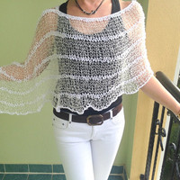 Knit poncho, white linen summer poncho, spring poncho, handknit top, handmade capelet, stylish beach cover,  womens trend, summer knit