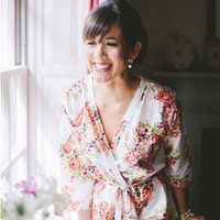 One Bridal Robe White Kimono Crossover Robe Perfect getting ready on your wedding day, make lovely pre-wedding photos, wedding favors