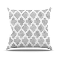"Kess InHouse Amanda Lane ""Gray Moroccan"" Grey White Outdoor Throw Pillow, 20 by 20-Inch"