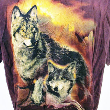 Vintage 90s Fashion WOLF Nature Hipster Animal Print Indie T-Shirt XL
