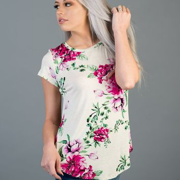Ivory and Pink Floral Short Sleeve Top (S-XL)