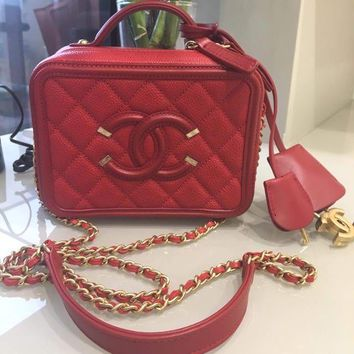 CHANEL Hand Bag Chain Shoulder Purse Pouch Red Coco mark Women Luxury Auth Rare