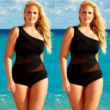 Black Womens SEXY Plus Size Swimsuit Retro One-Piece Push Up Bikini Set Swimwear Tankini (Size: XL, Color: Black) = 5659545153