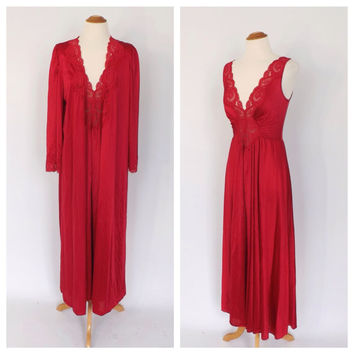 Vintage 1970s does 1940s Red Olga Night Gown Robe Peignoir Set Nightgown Lingerie Pin Up Boudoir Fashion Gown 20s Art Deco Wedding Night