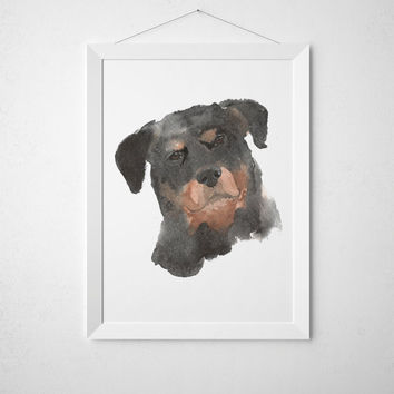 Rothweiler poster Watercolor dog print Cute nursery decor ACW114