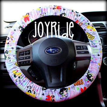 Steering Wheel Cover Powepuff Girls Fabric with Matching Keychain Option Gift for Anime Buttercup Blossom Bubbles Girl Power