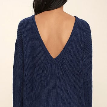 Island Ferry Navy Blue Sweater