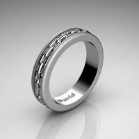 Mens Classic 14K Brushed White Gold Chain Inlay Wedding Band B1001M-14KBWG