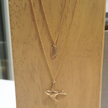 Leaf + Swallow Necklace