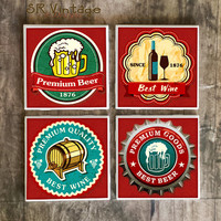 Beer and Wine Coasters,  Vintage Label Drink Coasters, Premium Beer and Best Wine Handmade Designs, Man Cave Decor, Gift For Him, Bar, Pub