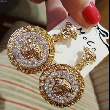 DCCKB62 VERSACE Women Fashion Trending Round Medusa Head Temperament Earrings Jewelry G