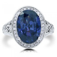 Oval Cut Sapphire Cubic Zirconia CZ Sterling Silver Halo Cocktail Ring #r588