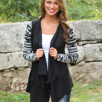 Geometric Print Long-Sleeve Asymmetrical Cardigan