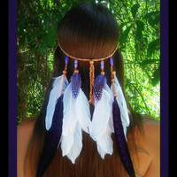 Amethyst Princess - Feather headband, native american syle, indian headband, hippie headband, bohemian headband, wedding veil, feather veil