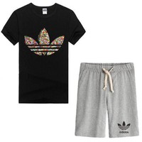 Trendsetter Adidas Women Men Casual Sport T-Shirt Top Tee Shorts Set Two-Piece