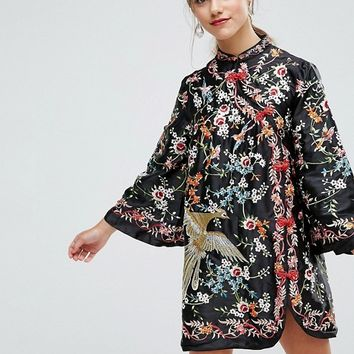 ASOS PETITE Embroidered Mandarin Collar Mini Dress at asos.com