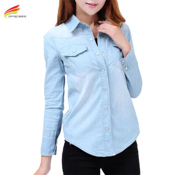 New 2017 Spring Woman Denim Shirt Fashion Style Long Sleeve Casual Shirts Women 2 Colors Blouses Plus Size Blusa Jeans Feminina