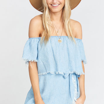 The Great Wrap Shorts ~ Light Chambray