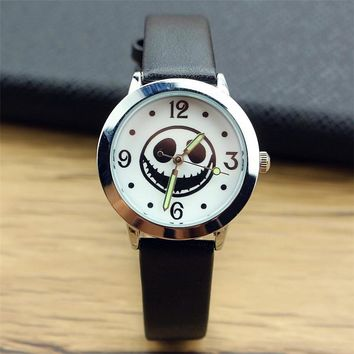 New Arrival Top sales The Nightmare Before Christmas Jack Skull Skeleton Quartz kids  Halloween Gifts unisex Luminous hand watch