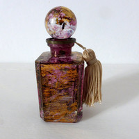 Vintage French, Glass Perfume Bottle, Purple Gold