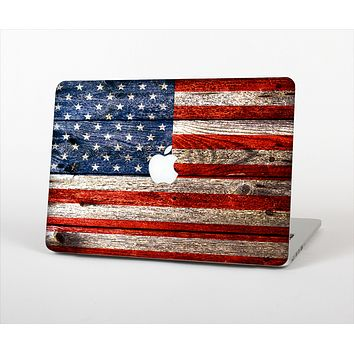 The Wooden Grungy American Flag Skin Set for the Apple MacBook Air 11""