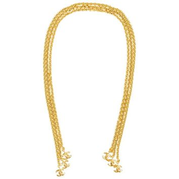 Vintage Chanel 94P Gold Tone Three Strand Link Chain 'CC' Charm Lariat Necklace