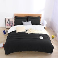 Two-tone Bedding Sets King Custom Size Duvet Cover Set For USA,bed Linens Bed Cover Set For Russia Bedclothes Black