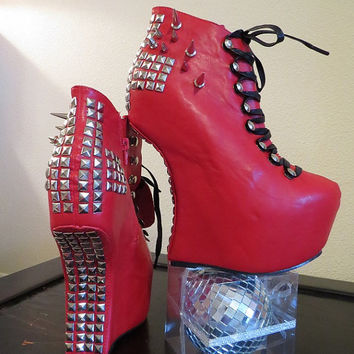 High Heel HeelLess Platform Spiked Women Shoes Booties Red size 10...A SpikesByG Design
