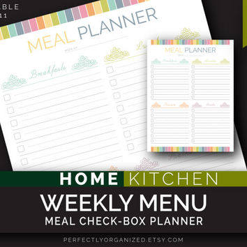 Weekly Meal, Menu check-list by meals, Week Menu, Kitchen Printable Planner, DIY Pastel Binder Organizer || Household PDF Printables