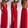 Sexy Clothing Wedding Elegant Red Spaghetti Strap Embroidery Pleated Backless Maxi Dress 2014 new summer Party dress = 1901170564