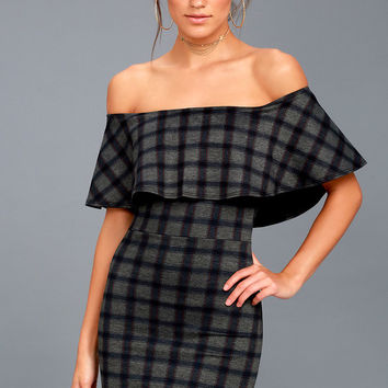 Small Town Girl Grey Plaid Off-the-Shoulder Bodycon Dress