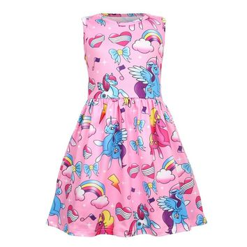 Girl Dress for Girls Summer Sleeveless Clothes Unicorn Rainbow Flower Print Dress for Party Wedding Birthday Baby Kids Clothes