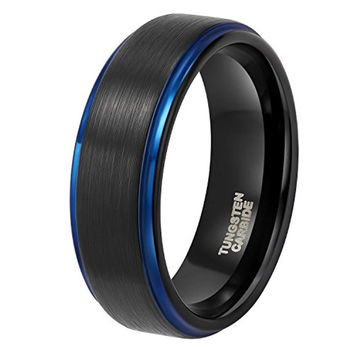 CERTIFIED  8 mm Tungsten Wedding Bands Rose Gold/Blue/ Black Brushed Two Tone