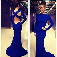 Leshery New Sexy Women Long Sleeve Prom Ball Cocktail Party Dress Formal Evening Gown (L)