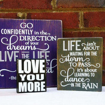 Mini Sign Distressed Love You More Wood Block Home Decor Wedding