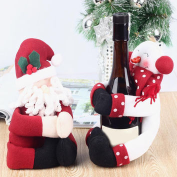 2pcs/set Red Wine Bottle Cover Bags Hug Snowman Santa Claus Dinner Table Christmas Decoration Favor Gift