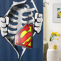 Skeleton Rib Cage With Superman shower curtain special custom shower curtains that will make your bathroom adorable