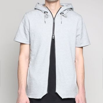 Unknown gray short sleeve double sided zip hoodie