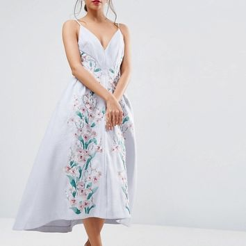 ASOS SALON Embroidered Panelled Midi Pinny Prom Dress at asos.com